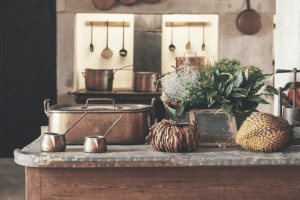 kitchen with copper cookware