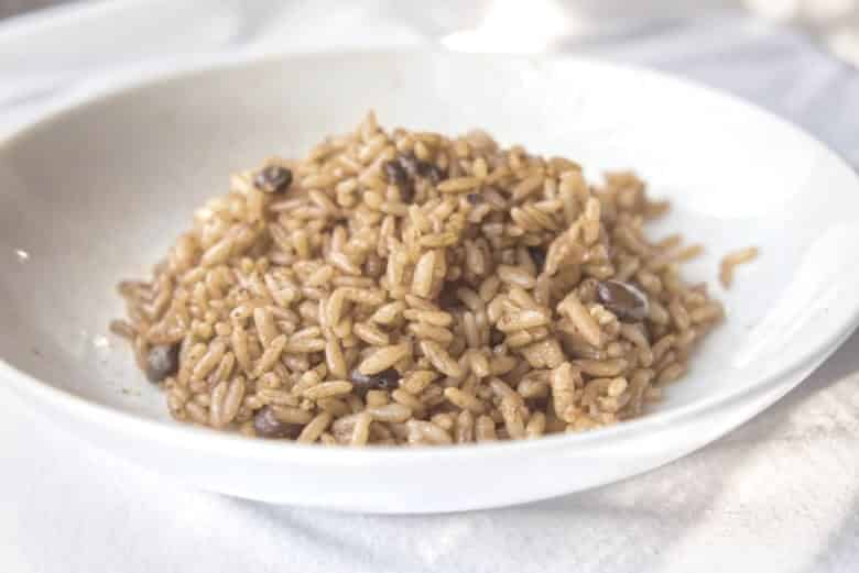 rice on a white plate