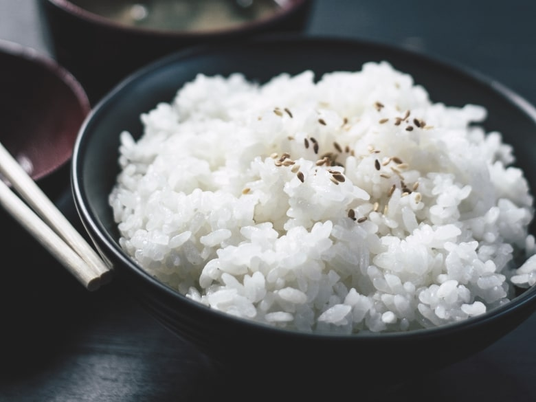 rice in a plate