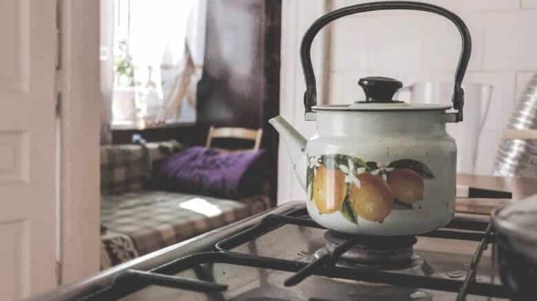 tea kettle on gas stovetop